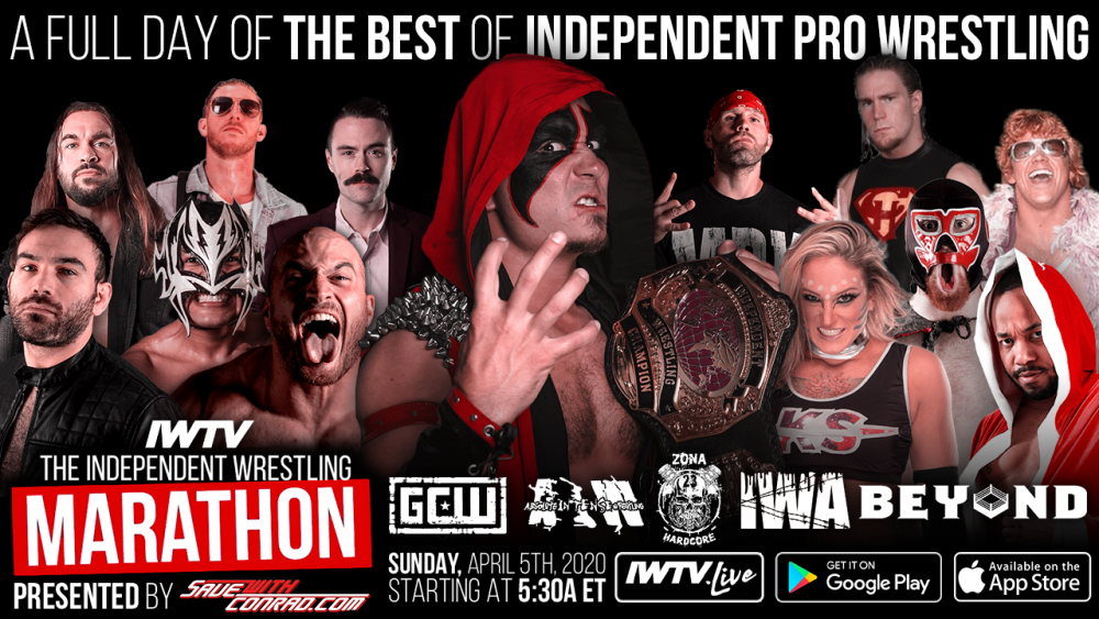 Independent Wrestling Marathon, presented by SaveWithConrad.com, comes to IWTV this Sunday!